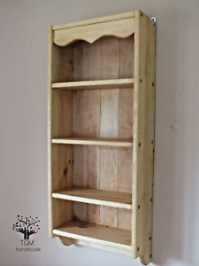 Details about Rustic Spice Rack | Solid Timber Shelving Unit | Kitchen  Storage Display Cabinet