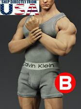 1/6 Men Tank Top & Underwear GRAY For Phicen M33 M34 Hot Toys Muscular U.S.A.