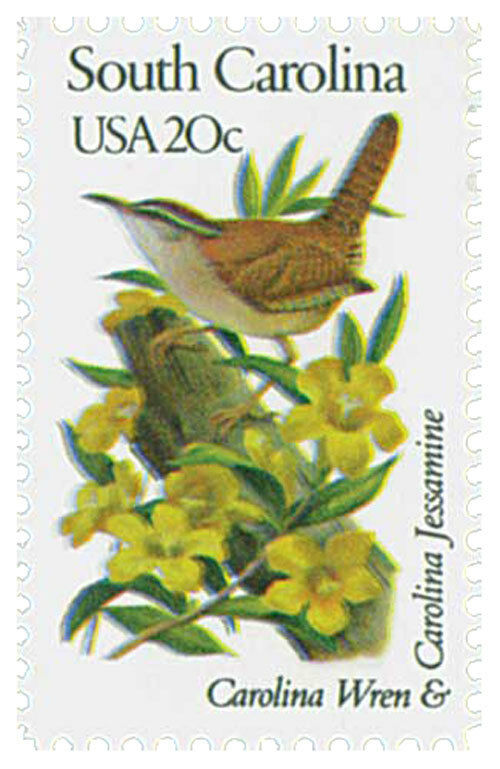 1982 20c State Birds & Flowers, S. Carolina, Wren & Jes