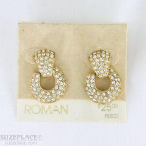 VINTAGE-ROMAN-GOLD-TONE-CRYSTAL-EARRINGS-NWT-25