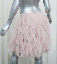 CHANEL 12P $3355 Womens Pink Silk Chiffon Ruffle Pleated Skirt 40/8 M NEW NWT
