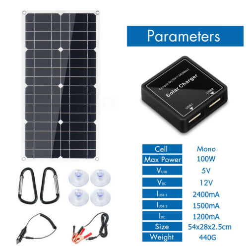 30W//100W//200W Solar Panel Flexible Off Grid Battery Charger for RV Boat Camper