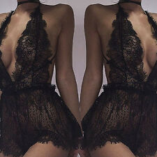 Size M Women's Sexy Deep V-neck Black Lace Babydoll Lingerie Dress Underwear New