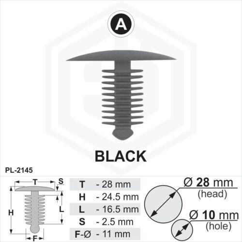 20x en plastique noir sapin TRIM CLIPS Spruce 10 mm trou 28 mm tête de voiture van Fixations