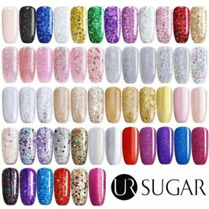7.5ml UR SUGAR Glitter UV Gel Nail Polish Rose Gold Holographic Soak off Varnish