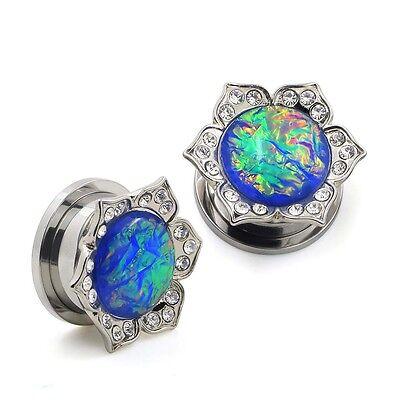 PAIR-Stainless Steel Silver Blue Opal-EAR GAUGES-Screw EAR PLUGS 8mm-25mm Flower