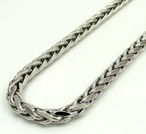 16-30-034-4mm-14k-White-Real-Gold-Franco-Wheat-Italy-Spider-Chain-Necklace-Mens
