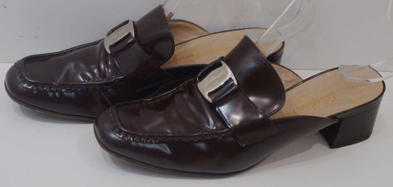 SALVATORE FERRAGAMO BOUTIQUE Chocolate Brown Slip On Mule shoes Sz 6.5C; UK4.5
