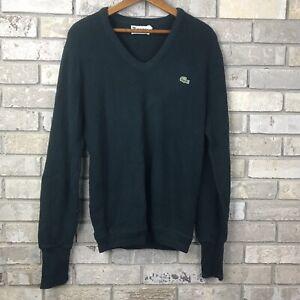 VTG-80s-Mens-Large-IZOD-LACOSTE-Green-pullover-v-neck-sweater-crocodile-Vintage