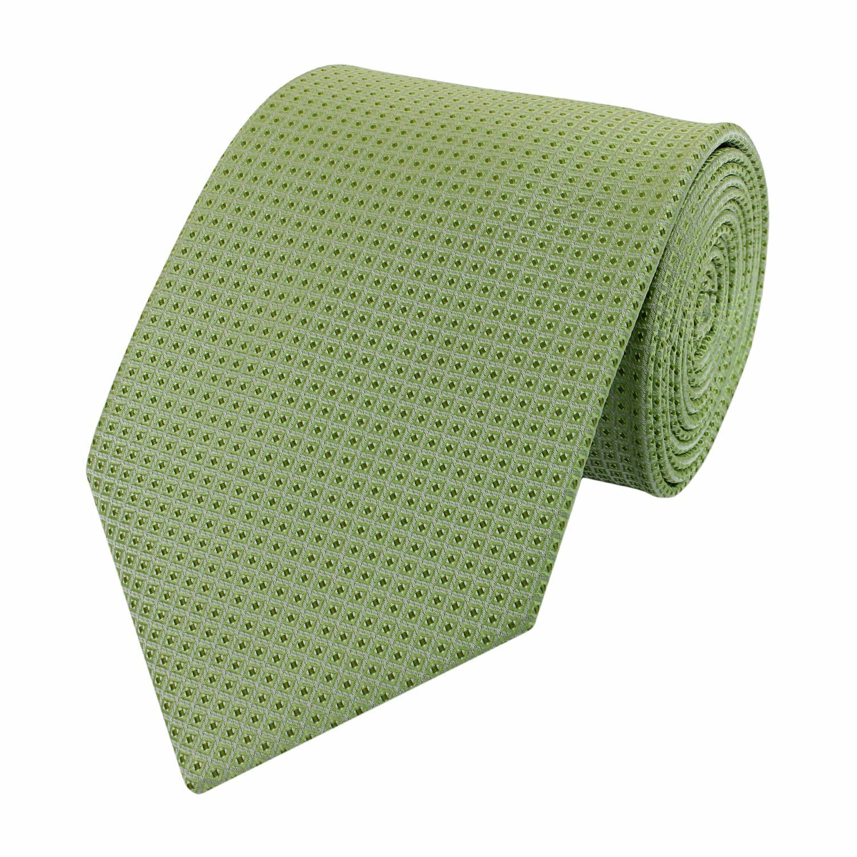 Krawatte lindgrün 8cm geometrisches Muster Fabio Farini grüne Quadrate/Rauten