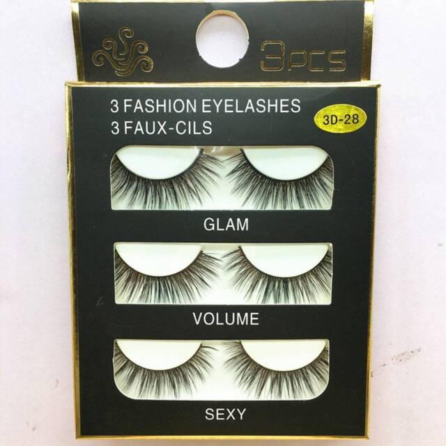 3 Pairs Black Faux Mink Natural Cross Long Thick Eye Lashes False Eyelashes\