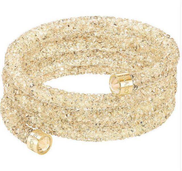 NIB$129 Swarovski Crystaldust Wide Bangle Triple Bracelet Golden Size M #5277587