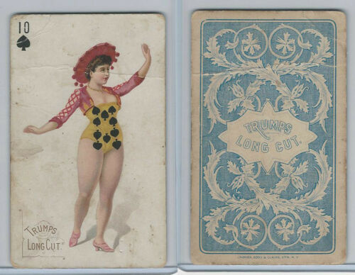 N457 Trumps Long Cut, Playing Cards, Blue Back, 1890, Spade 10
