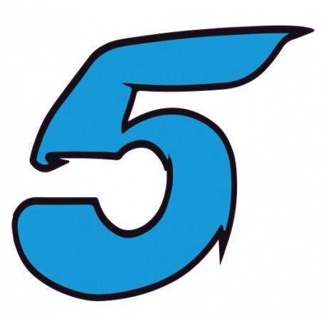 Chiffre 5 cinq autocollant sticker bleu voiture moto Taille:12 cm