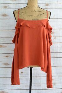 624f54132747 NWOT Mossimo - Rust-orange OFF shoulder LONG sleeve BOHO peasant ...
