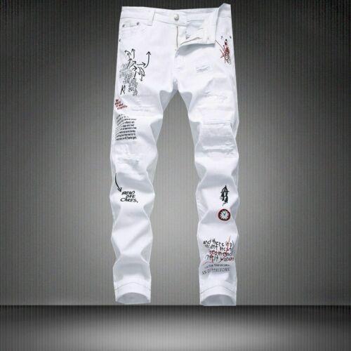 2019 Fashion Mens White Print Jeans Pants Night Club Denim jeans pants trousers