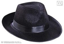 Black Felt Gangster Hat Al Capone Bugsy Malone Mob Trilby Fancy Dress