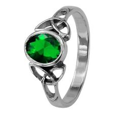 CELTIC TRINITY KNOTS SILVER BIRTHSTONE RING MAY - EMERALD 0552