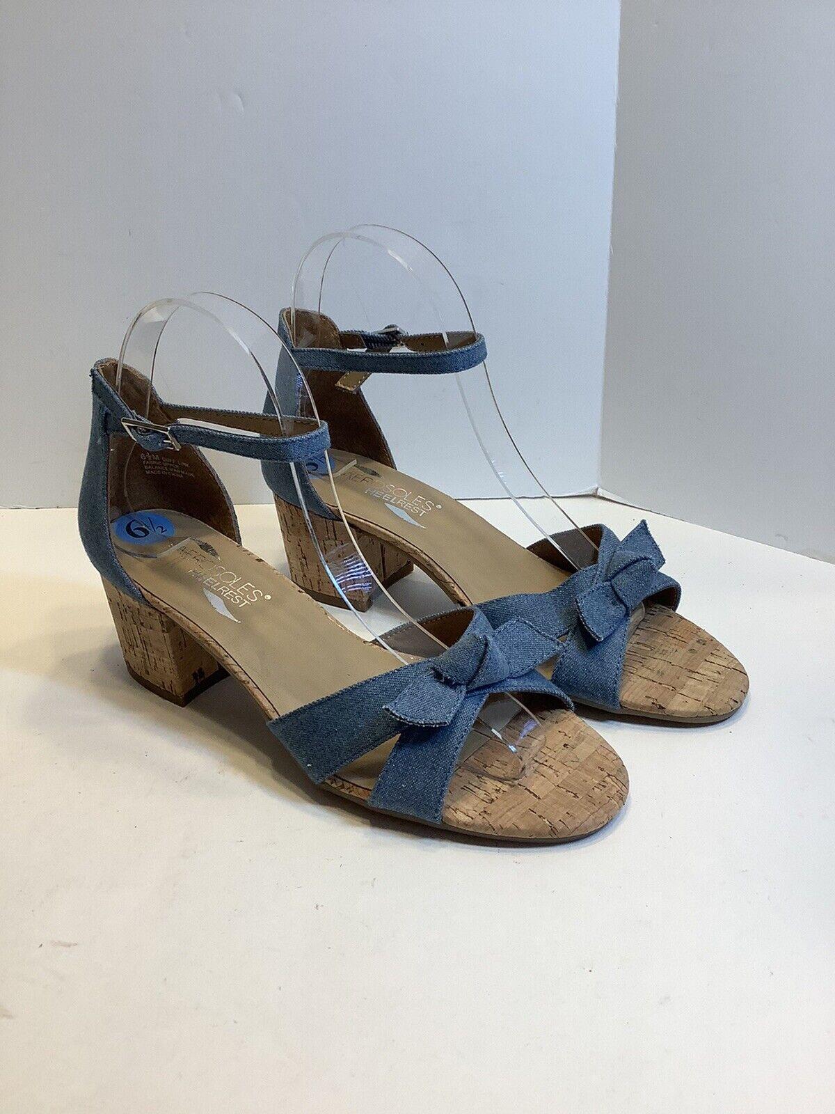 "AEROSOLES Heel Rest ""Cuff Link"" Chunky Heels Sandals Chambray Blue Sz 6.5, New"