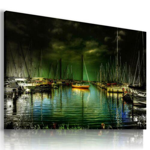 LAKE BAY PIER SHIPS BOATS Perfect View Canvas Wall Art Picture Large L371 MATAGA