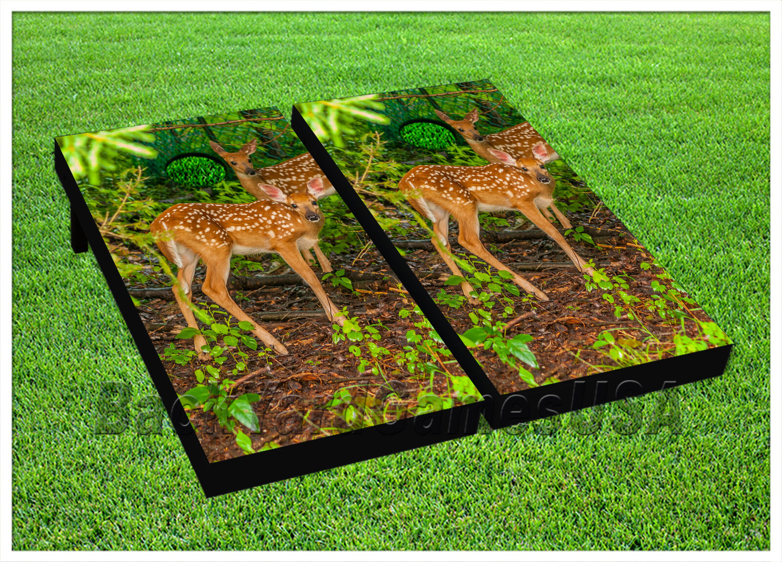CORNHOLE BEANTasche TOSS GAME w Tasches Game Boards Deer Hunting Nature Wild Set 1237