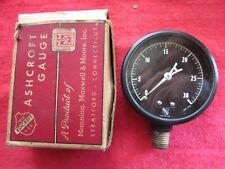 Vintage Nos Ashcroft Gauge 2 12 1009g Brass Black Face 0 30 Lb Pressure Gauge