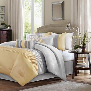elegant new yellow cal king queen comforter sham bedskirt 7 pcs set