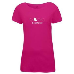 Damen-T-Shirt-Be-Different-4-Voegel-Fun-Motiv