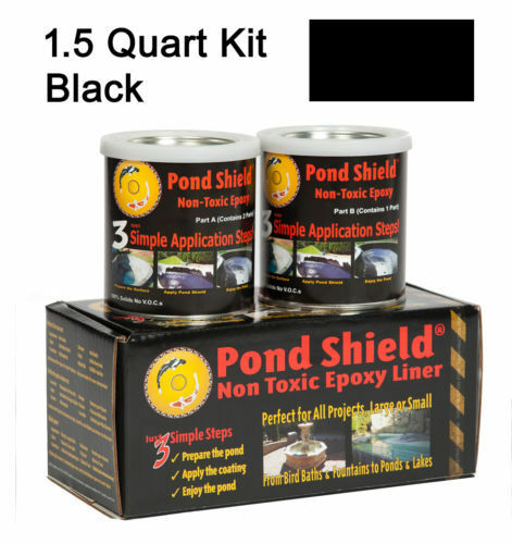 1 QT Gloss Black Non Toxic Pond Shield Epoxy Liner Indoor Exterior