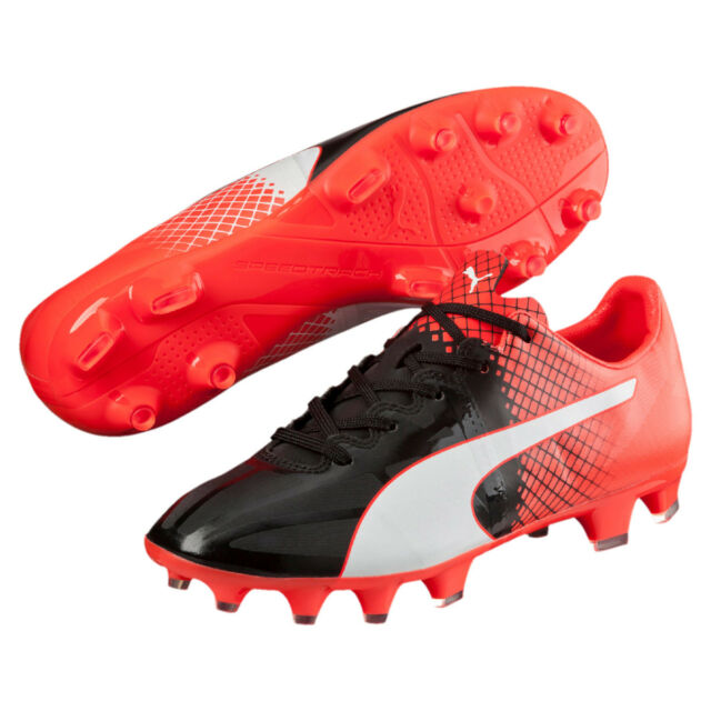 PUMA evoSPEED 1.5 FG Kids Football BOOTS Junior Black White Red 35 ... cd002b2c897e