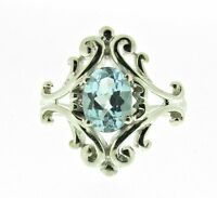 Silver And Blue Topaz Ring, Size Q1/2