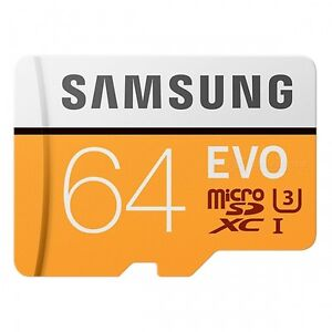 Samsung-Evo-64GB-micro-SD-SDXC-Class-10-memory-card-100MB-S-with-Free-Adapter