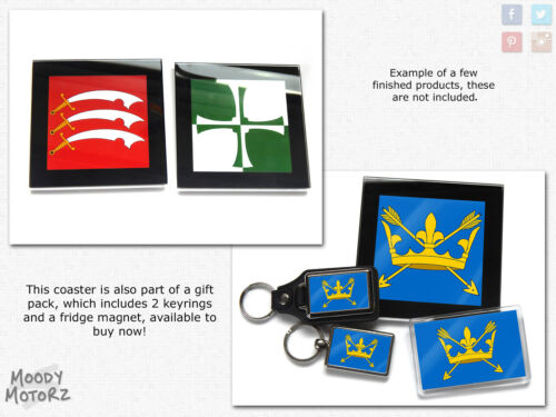 Cheshire Flag English County Premium Glass Table Coaster with Gift Box