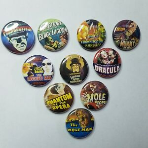 UNIVERSAL-MONSTERS-HORROR-POSTER-1-034-PINBACK-BUTTON-LOT-of-10-pin-punk-dracula