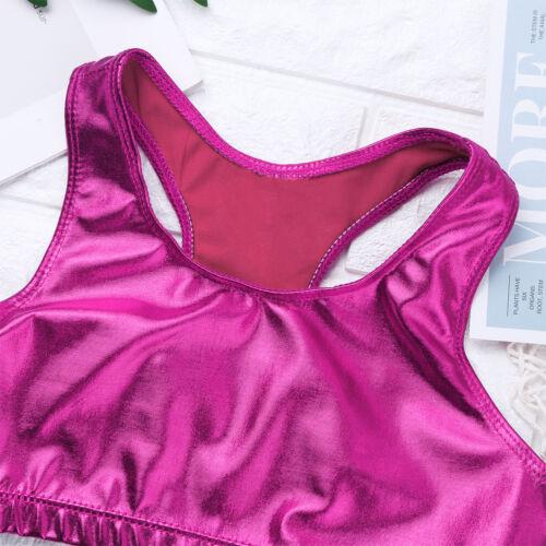 Kids Girls Shiny Racer Back Crop Top Metallic Sleeveless Ballet Dance Sport Top
