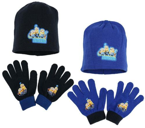 Boys Despicable Me Minions Stu Buddies Knit Beanie Hat /& Gloves Set 4 Years