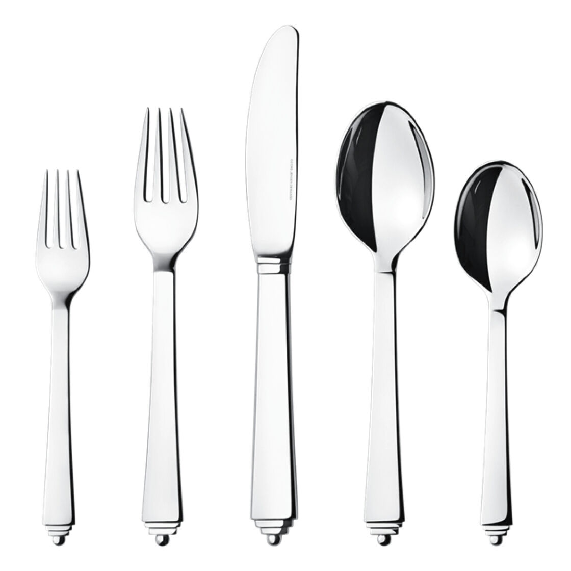 Georg Jensen Pyramid Cutlery. Five Pieces Set   Stainless steel