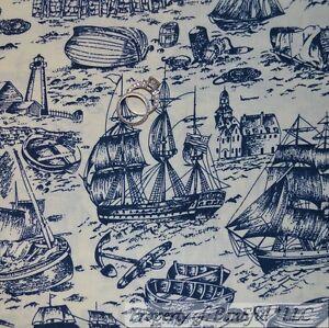 BonEful-Fabric-FQ-Cotton-Quilt-Blue-Light-House-Anchor-Sail-Boat-Nautical-Toile