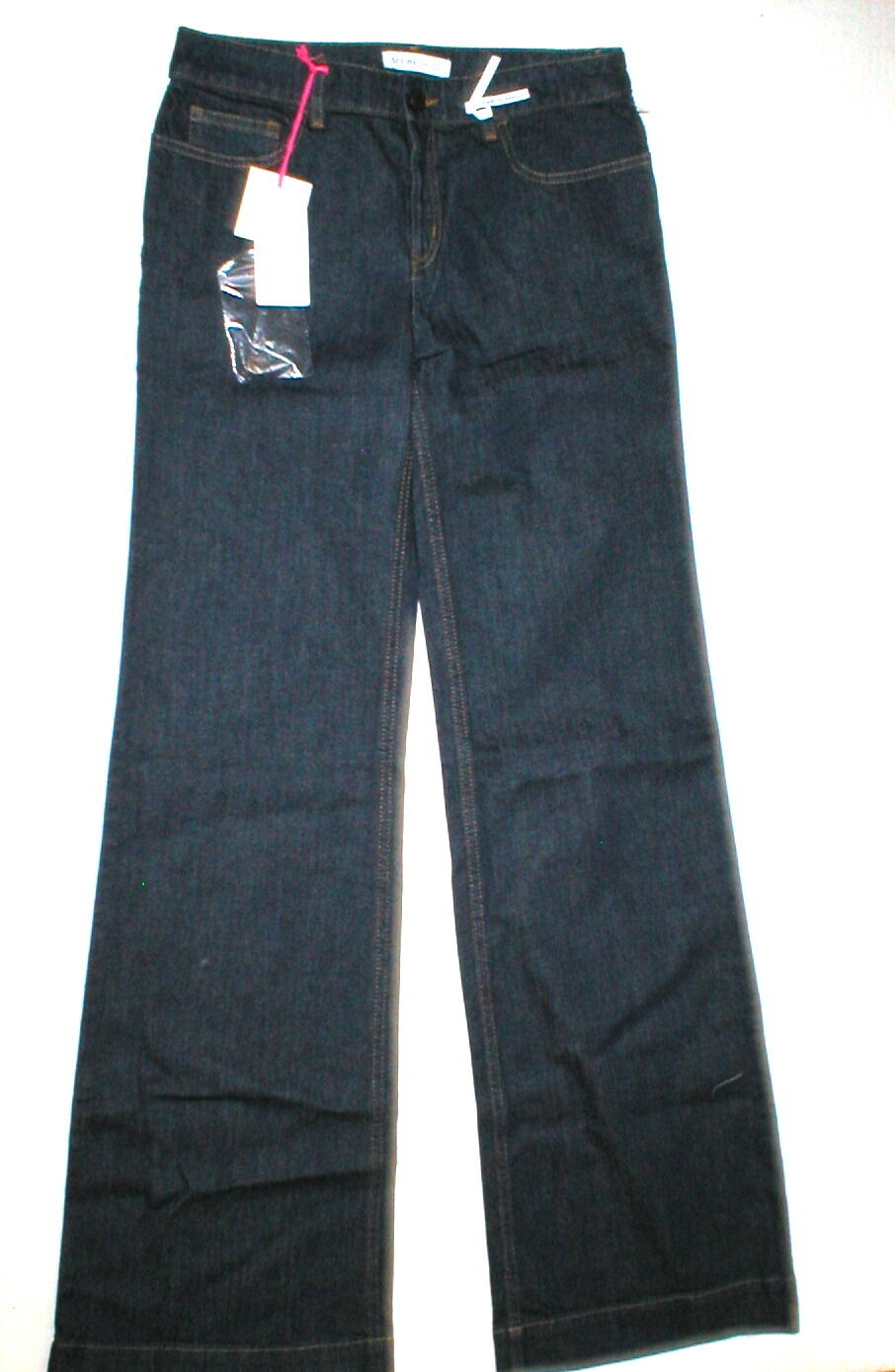 New Womens NWT Designer See by Chloe Jeans 27 Flare Jeans High Waist Dark Logo