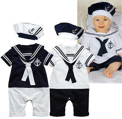 Hot Newborn Clothes Baby Boys Clothes Navy Captain Costume Romper Cotton 0-24M