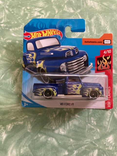 2018 HOT WHEELS '49 FORD F1 Pick Up in Blue, HW FLAMES 4/10 Short Card.