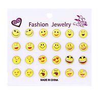 12 Pairset Funny Smile Emoji Cabochon Women's Alloy Stud Earrings 2016 New