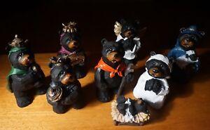 image is loading faux wood carved black bear lodge nativity scene - Black Bear Christmas Decor