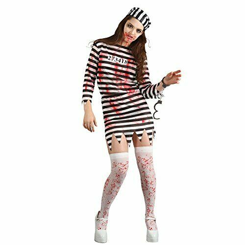 Zombie Convict Adult Costume Lady Ladies LARGE