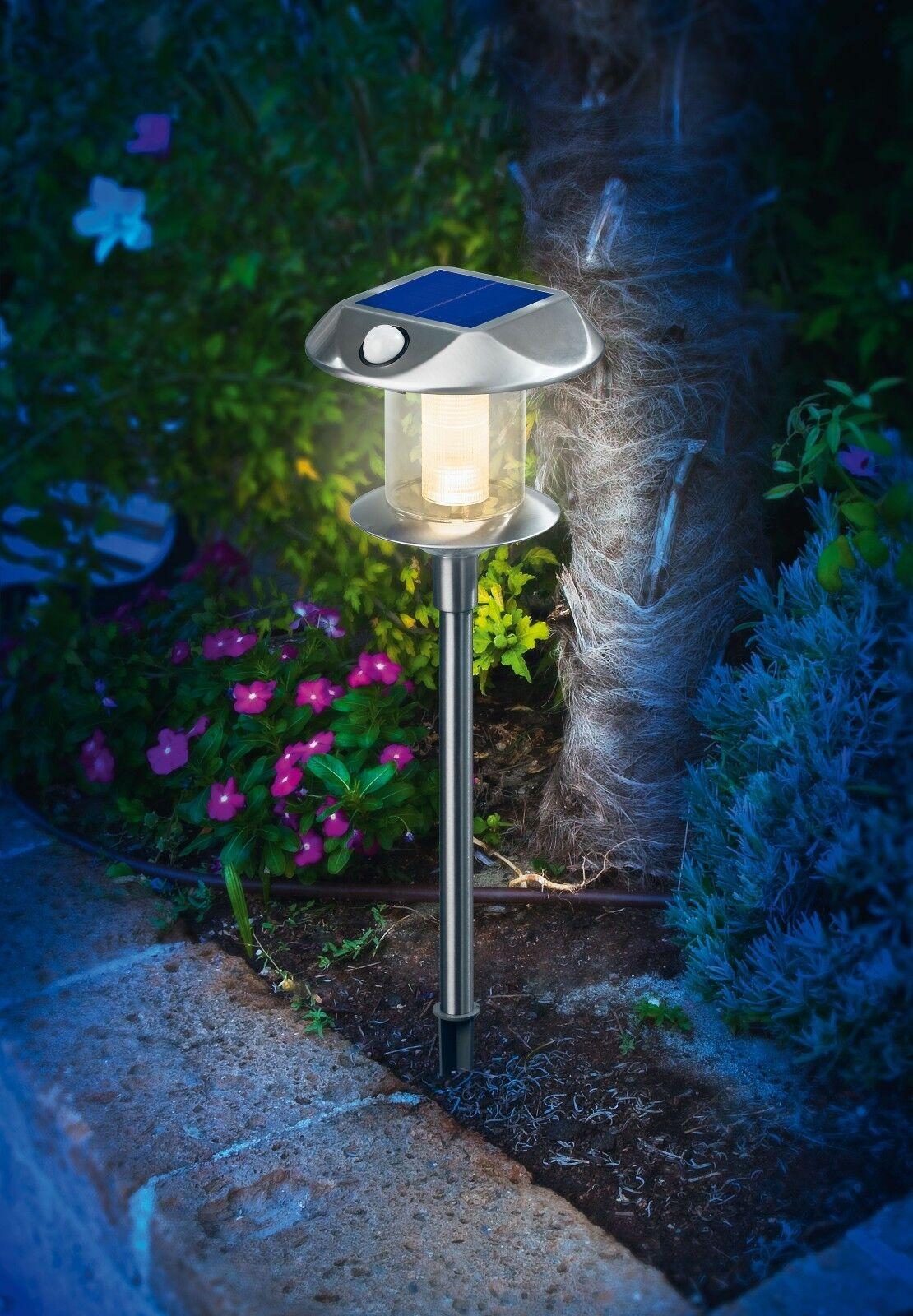2x Led Solar Lámpara de Pie Conmutable Kw O. Ww Pir Detector Movimiento Jardín