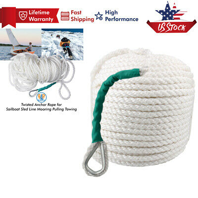 "1//2/""x200/' Twisted Nylon Anchor Rope Strand Braid Dockline w//ss Thimble Boat Rode"