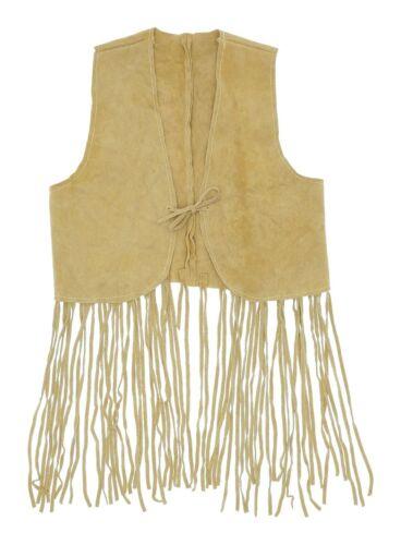 Vintage 60s Hippie Fringe Leather Vest XS Womens S