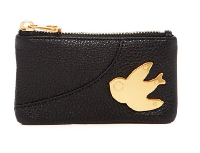 NWT Marc by Marc Jacobs Petal to the Metal Leather Key Pouch Black w Bird