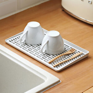 Plastic-Dish-Drainer-Plates-Cups-Cutlery-Holder-Kitchen-Sink-Drying-Rack-LJL