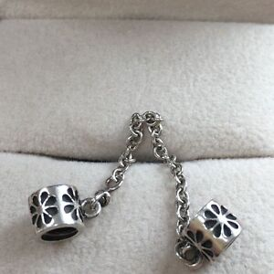 d9d90529a Image is loading Silver-Pandora-Flower-Patterned-Safety-Chain-790385-RRP-